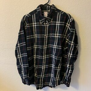 Brooks Brothers 346 Men's Large Black Red & White Plaid Button Front  Shirt