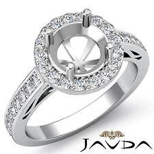 Round Cut Semi Mount Diamond Engagement Halo Pave Filigree Ring Platinum 0.8Ct