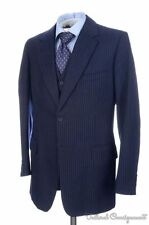 NUTTERS Savile Row Blue Striped Wool 3 PIECE Jacket Vest Pants SUIT BESPOKE 42 L