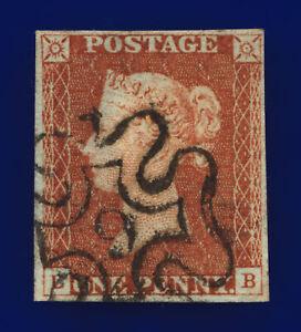 """1841 SG8m 1d Red-Brown """"9"""" in Maltese Cross B1(2)ui EB 4-Margins Cat £180 cfzi"""