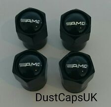 AMG BLACK Wheel Tyre Valve Dust Caps Covers A B C Class SL SLK C63 Mercedes A45