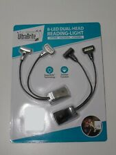UltraBrite 8 LED Dual Head Reading Light 2 Pack - Great for Home/School/Travel