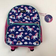 NWT Blue/Pink Girls Crocodile Creek Backpack Unicorns Rainbows School Travel