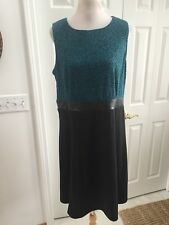 NWT NY Collection Teal /Black Fit and flare dress  Faux Leather Waist Band XL