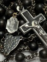 "† SCARCE ""ST ANNE"" ANTIQUE GLASS TINY PENDANT MEDAL 1/2"" & XL ROSARY 35 1/4"" †"