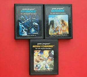 Atari 2600 Lot 3 Games Asteroids Defender Missile Command *Cleaned & Tested*