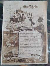 """1961 ÄQUATORTAUFE Neptun Taufschein """"Karpfen"""" Siegel T Gertud Fritzen"""