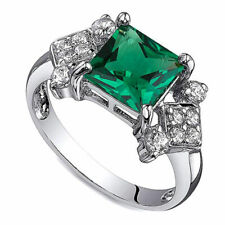 Gold Over 925 Sterling Silver Green Emerald Solitaire with Accent Ring
