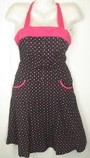MORBID THREADS black pink polka dot rockability pin-up punk halter DRESS size M