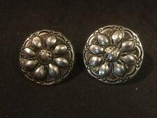 "Vintage Clip-On Earrings. Silverlike. 1"" D. #1. See Photos. G."
