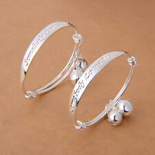 Gift 2pcs Silver Plated Baby Kid Bell Bangle Bracelet English Letter Sanwood