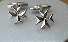 DISCOUNTED! 925 Sterling Silver Maltese Cross Solid Cufflinks Order of St.John