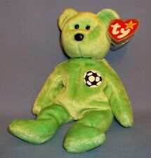 Kicks Soccer Bear Beanie Baby by Ty - 1998 Retired and RARE WITH ERRORS