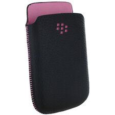 Blackberry 9800 Funda Negro y Rosa Cuero Caso de Bolsillo Nuevo Original
