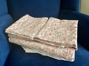 POTTERY BARN Alissa Floral Pink & Sage Full Size Sheet Set