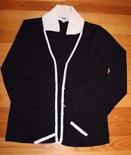 Belldini Sweater Women Long Sleeve Button down Navy/White Size M
