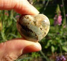 "Ocean Jasper HEART 19g 31mm Orbicular Orbs Pocket Sized Crystal Stone 1¼""  S0126"