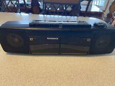 Vintage MAGNAVOX Boom Box Dual Cassette High Speed Dubbing Radio D8097/17B Works