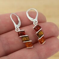 Multicolour  Baltic Amber 925 Sterling Silver Dangle Drop Earrings  Jewellery
