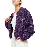 Free People Walk On By Knit Purple Cardigan Sweater Snap Buttons Size Large NWT