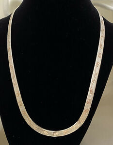 "Estate Milor 925 Sterling Silver Diamond Cut Rose Herringbone 20"" Chain Necklace"