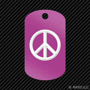 Peace Keychain GI dog tag engraved many colors  absence of war dove