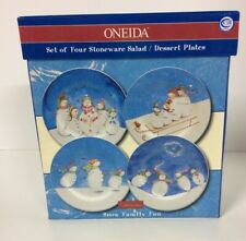 Oneida Stoneware  Snow Family Fun Snowman Dessert  Salad Plates