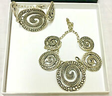 Mandala Necklace & Bracelet Jewelry Set Artisan Made Textured Metal New in Box