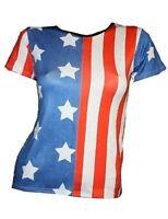 USA FLAG AMERICAN WHITE STARS STRIPE T-SHIRT TOP FANCY DRESS 8-22 OLYMPICS