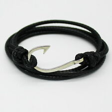 Silver Alloy Hook Leather Black Beach Bracelet by Maya Bracelets NEW W/ Bag!