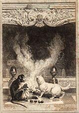 EAU FORTE / Fables de la Fontaine 1883 / LE SINGE ET LE CHAT