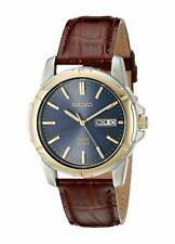 NEW Seiko SNE102 Solar Men's Dress Blue Dial Stainless Steel Brown Leather Watch