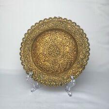 More details for vintage decorative engraved brass plate floral pattern and petal edges 10