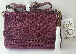 Sak Women's Emilie 100% Hand-Crochet Cross Body Fold Over Handbag NEW