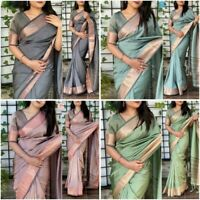 Art Silk Saree Sari New Jacquard Work Indian Wedding Partywear Clothing Wear