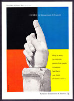 1954 Don Kubly Hand Sculpture art Cicero Quote CCA vintage promo print ad