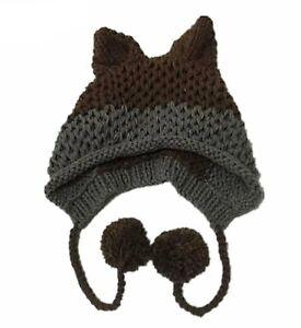 Fox Ears Beanie Winter Warm 100% Handmade Knit Hats