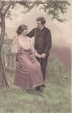 Antique ROMANTIC POSTCARD c1907-10 Greetings Woman on Swing Couple Emb. 16256