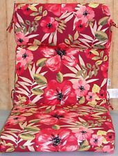 (6) Outdoor Hi-Back Chair Cushions ~ Chili Tropical Blossoms ~ 21 x 44 x 3.5 NEW