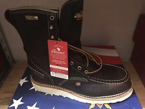 "Men's Thorogood 804-3800 8"" Moc Toe Wedge Waterproof Steel USA New In Box 11 D"