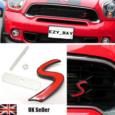 MINI Cooper One Red 'S' 3D Metal Front Grille Badge Emblem Aftermarket R52 R53 R