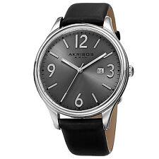 Mens Akribos XXIV AK869SS Gunmetal Sunray Date Dial Black Leather Strap Watch