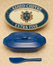 Davis & Waddell Goats Cheese Baker & Spreader Blue Ceramic Dish Ashed Chevre