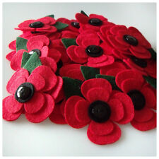 Wool Blend FELT Red Poppies With Leaves x4 Handcrafted Embellishments