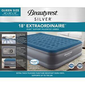 """Beautyrest QUEEN Silver 18"""" Extraordinaire Air Mattress w/ iFlex Support & Pump"""