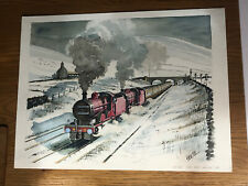 original watercolour painting, Steam Train/snow Scene, signed Stephen Arch.