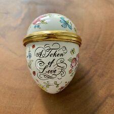Halcyon Days Bilston and Battersea Enamels A Token of Love Egg Trinket Box