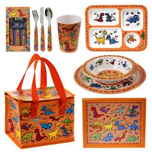 Kids Boys Mealtime Cutlery Dinner Set Dinosaur Design Bowl Cup Plate Lunch Bag