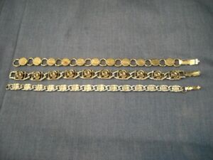 Sarah Coventry 3 Bracelets Silvertone 1 w Roses Group Lot Signed Vintage