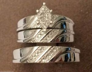 His Her Men Women's Diamond Bridal Rings Wedding Trio Set 14K White Gold Finish